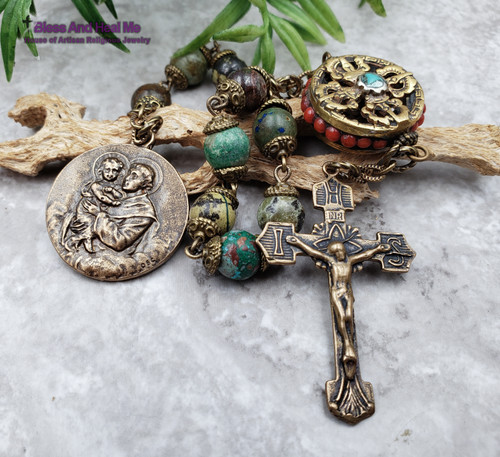 St Anthony Lourdes Chrysocolla Bronze  Chaplet Antique Style healing parents grandparents protection