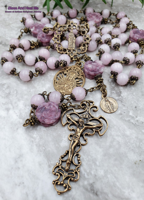 Mother Mary Sacred Heart Miraculous Roses Pink Lavender Calcedony Lepidolite Bronze Antique style Ornate Rosary Love Happiness