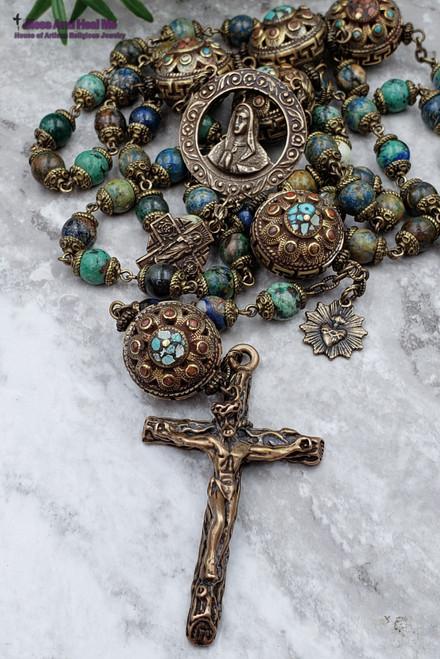 Virgin Mary Sacred Heart of Jesus Chrysocolla Antique  rosary