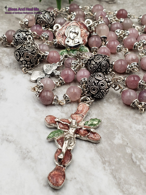 Mother Mary Roses Tween Hearts Pink  Madagascar Quartz Silver Pewter Ornate Rosary Healing Love