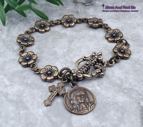 Mary Magdalene Guardian Angel Flowers Bronze Artisan Catholic Crucifix Bracelet