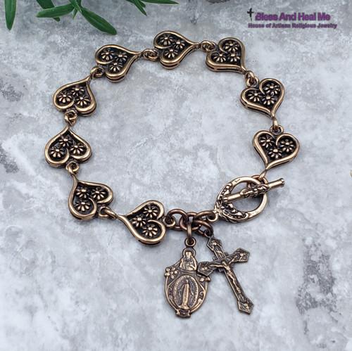 Miraculous Mary Sacred Heart of Jesus Angels Hearts Bronze Artisan Catholic Crucifix Bracelet