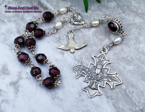 Holy Eucharist Holy Spirit Sacred Heart Red Garnet Pearls Sterling silver Ornate Chaplet joy, love,loyalty,devotion.