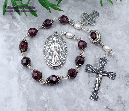Miraculous Mary Sacred Heart Holy Spirit Joseph Christopher Red Garnet Pearls Sterling silver Ornate Chaplet joy, love,loyalty,devotion.