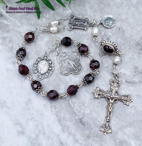 St Raphael Lourdes Miraculous Mary Perpetual Help Red Garnet Pearls Sterling silver Ornate Chaplet joy, love,loyalty,devotion.
