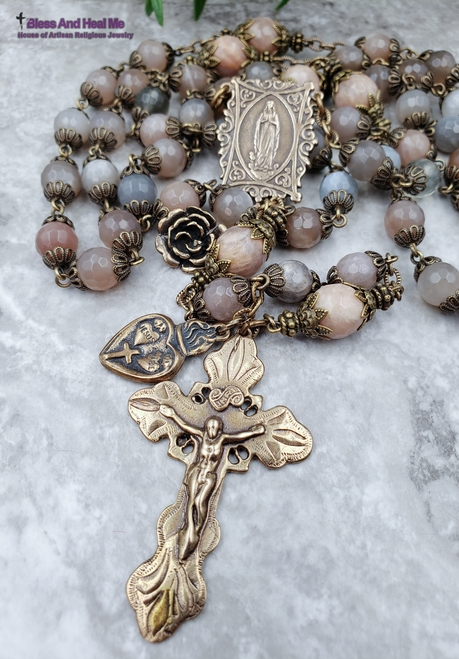 Virging Mary Lourdes Tween Hearts Peach Grey Moonstone Bronze Antique Style Rosary