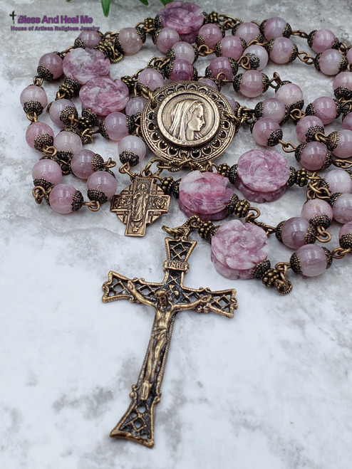 Blessed Virgin Mary Sacred Heart of Jesus Roses Pink Quartz Lepidolite Bronze Ornate Antique style Rosary Love Healing Happiness