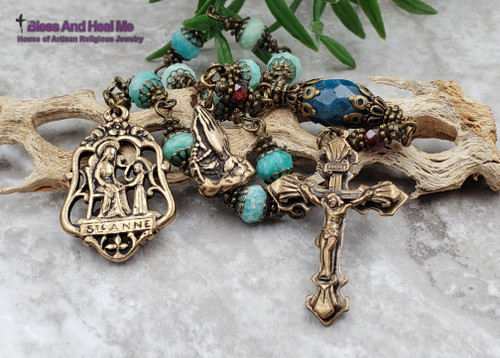 St Anne Amazonite Apatite Bronze Ornate Antique Style Chaplet Harmony Happiness Success