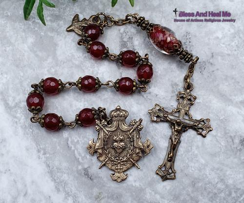 Sacred Heart of Jesus Red Jade Antique style Bronze Ornate Rosary Chaplet Joy Love Longevity Good Luck