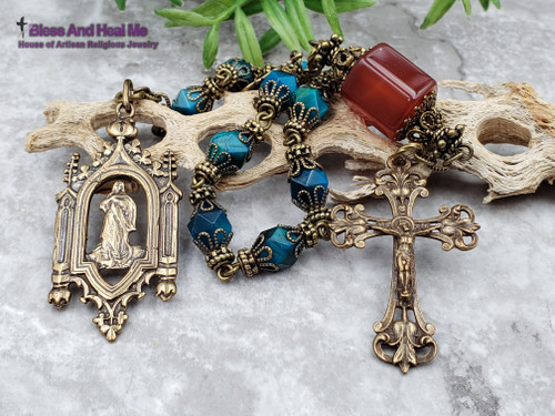 Assumption of Mary Lourdes Blue Tiger Eye Carnelian Bronze One Decade Antique Style Ornate Rosary Chaplet Joy Protection Good Luck