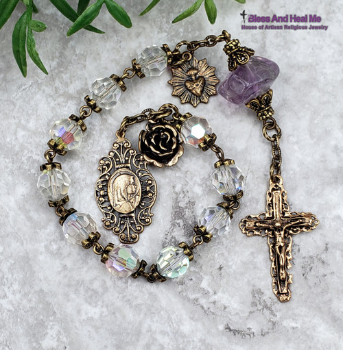 Blessed Virgin Mary Sacred Heart of Jesus Aurora Borealis Crystal Amethyst Bronze Antique Style Chaplet Spiritual Communication Health