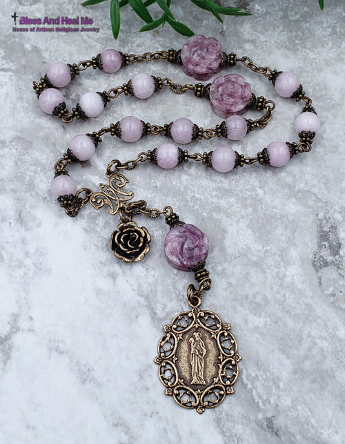 St Anne Devotional Roses Pink Lavender Calcedony Lepidolite Bronze Antique style Ornate Chaplet Love Happiness