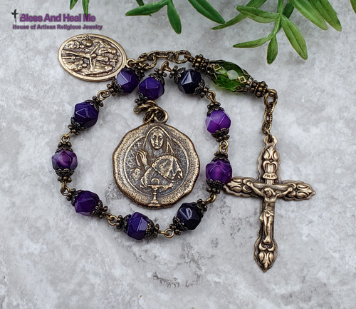 First Communion Mary Holy Eucharist Purple Agate Bronze Ornate Antique Style Chaplet protection happiness