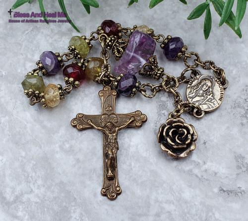 Mary Magdalene Bronze Multi gemstones Ornate Chaplet