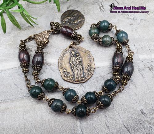 Devotional Lady of Mercy Lourdes Green Agate Jasper Bronze Rosary Chaplet