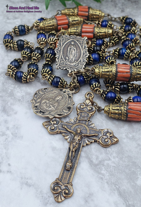 Virgin Mary Lourdes Sacred Heart of Jesus Blue Tiger Eye Red Coral Antique Style Bronze Rosary