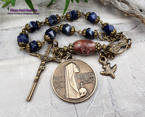 Our Lady of Peace Lourdes Sacred Heart Holy Spirit Sodalite Red Jasper Bronze  Gemstone 1 decade Rosary Chaplet