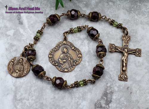 St Jude St Raphael Devotional Garnet Prehnite Bronze Ornate Antique Style Chaplet healing, joy, love,loyalty,devotion