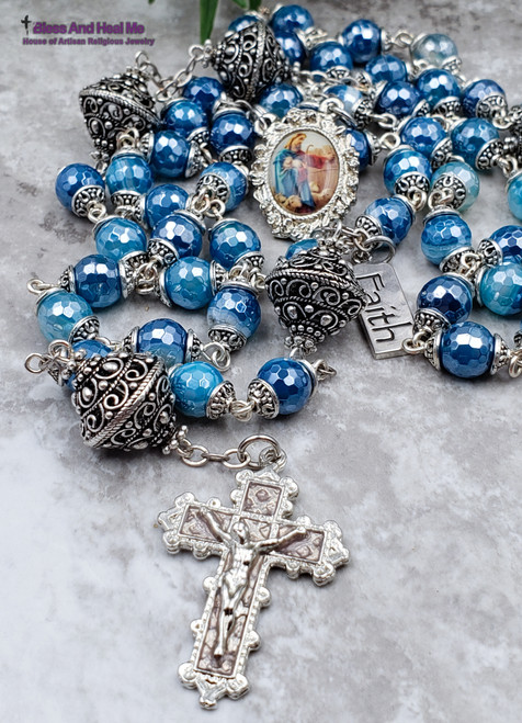 Lord is Our Shepherd Blue Agate Silver Pewter Ornate Rosary