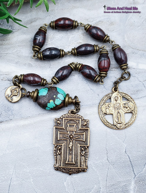 Miraculous Mary Sacred Heart Joseph Christopher Turquoise Jasper Bronze Antique Style mens Chaplet