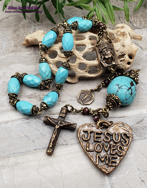 Jesus Loves Me Crown of Thorns Lord of Miracles Turquoise Bronze Large Chaplet
