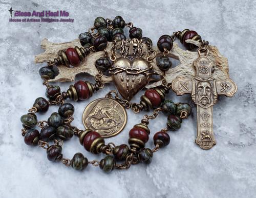 Holy Face of Jesus Devotional Sacred Bleeding Heart, Pieta Bronze Chaplet