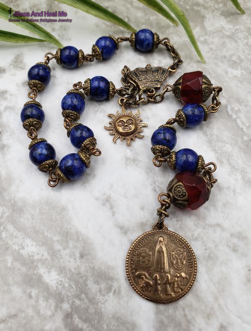 Devotional Lady of Fatima Lapis Lazuli Red Quartz Ornate Chaplet health, spiritual communication