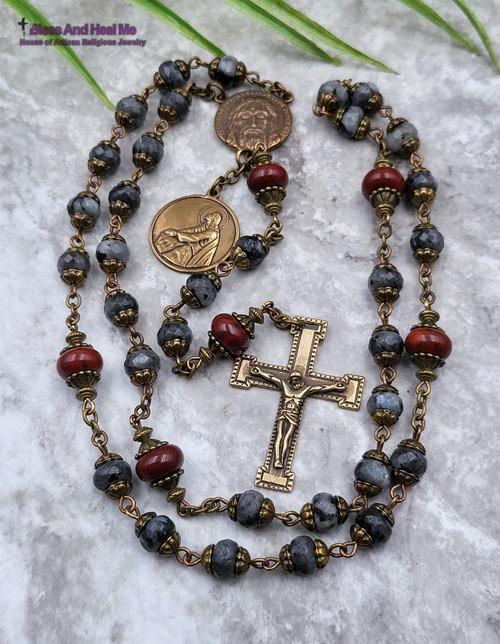 Devotional Holy Face of Jesus Agony in the Garden of Gethsemane Bronze Labradorite Red Jasper Chaplet