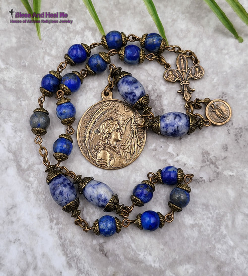 Devotional Joan of Arc St Michael Therese Miraculous Mary Lapis lazuli Sodalite Vintage Bronze Chaplet