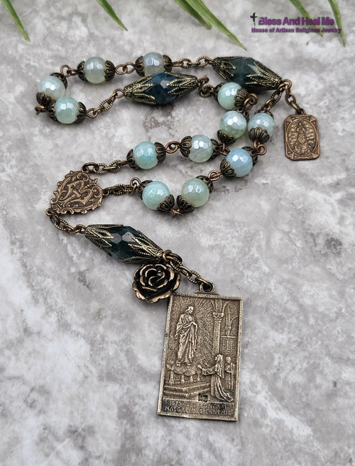 Devotional Immaculate Conception Assumption of Mary Green Agate Apatite Vintage Bronze Chaplet