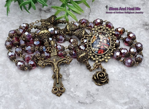 Crowned Mother Mary Red Czech Fire Polished Crystal Bronze tone Rosary
