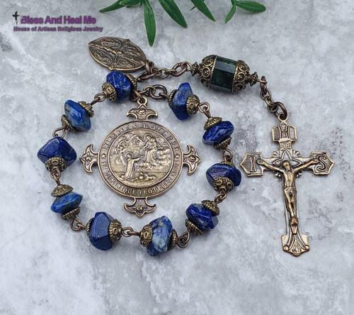 Lady of the Rosary Miraculous Mary Sacred Heart Joseph Lapis Lazuli Green Jade Bronze Chaplet