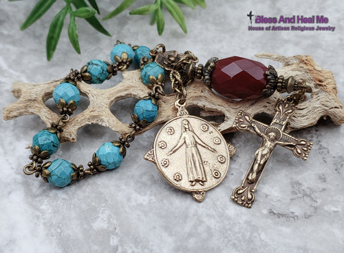 Mary Queen of Flowers Turquoise Red Quartz Bronze Antique style Chaplet