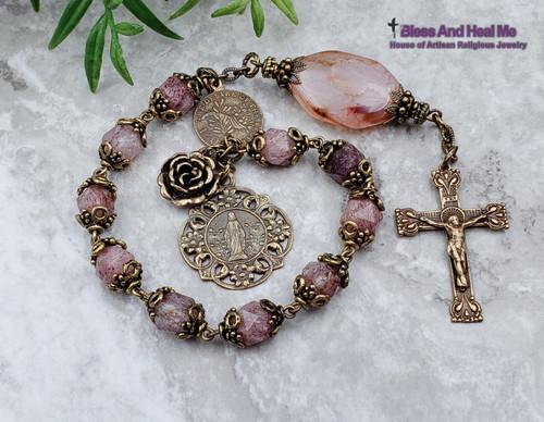 Miraculous Mary Flowers Pink Quartz Agate Bronze Ornate Chaplet