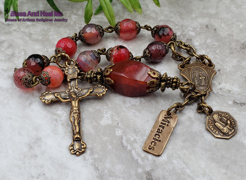 St Rita Lord of Miracles Agate Bronze Ornate Chaplet