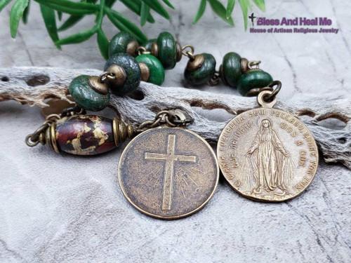 Miraculous Mary God is Our Refuge Psalm 46:1 Bronze Jasper Mens Chaplet