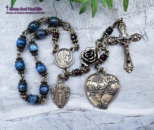 Virgin Mary Sacred Immaculate Heart Blue Kyanite Garnet Bronze Ornate Chaplet
