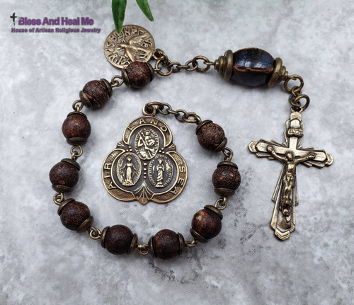 Sacred Heart Miraculous Mary Christopher Holy Spirit Agate Bronze mens Chaplet