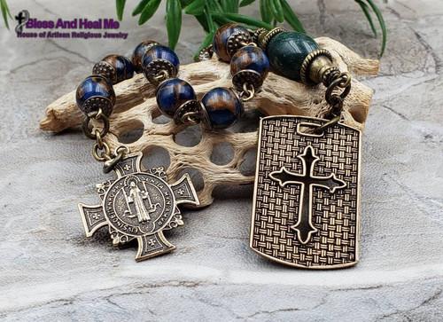 Miraculous Mary Jesus Embrace Lapis Lazuli Jade Antique Style Bronze Chaplet