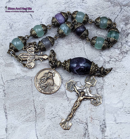 St Anthony Therese Miraculous Sacred Heart Fluorite Amethyst Bronze Chaplet