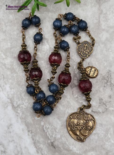 Tween Sacred Immaculate Heart Devotional Red Quartz Blue Jade Bronze Ornate Antique Style Chaplet