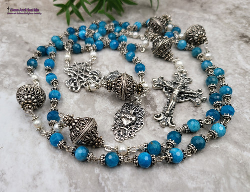 Ave Maria Sacred Heart Blue Apatite Pearls Ornate Sterling Silver Rosary