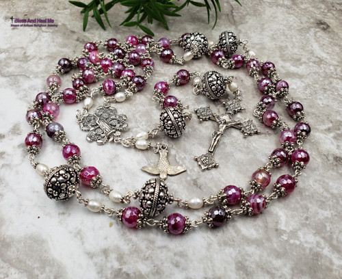 Blessed Virgin Mary Sacred Heart Sterling Silver Antique style Ornate Rosary