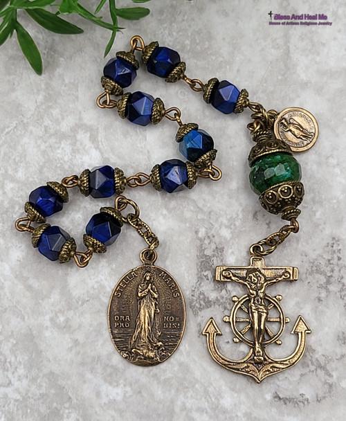 Sailors Mariners Protection Stella Maris St MichaelAnchor Crucifix Blue Tiger Eye Bronze Chaplet