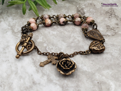 Miraculous Mary Sacred Heart Crucifix Rosary Bracelet