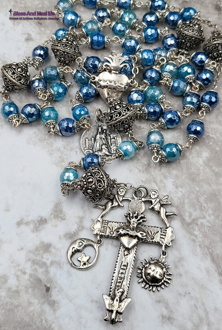 Sacred Heart Mother Mary with Lyon Sun Moon Blue Agate Ornate Sterling Silver Mix Rosary