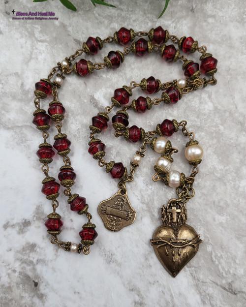 Precious Blood of Christ Devotional Glass Pearls Bronze Antique Style Chaplet