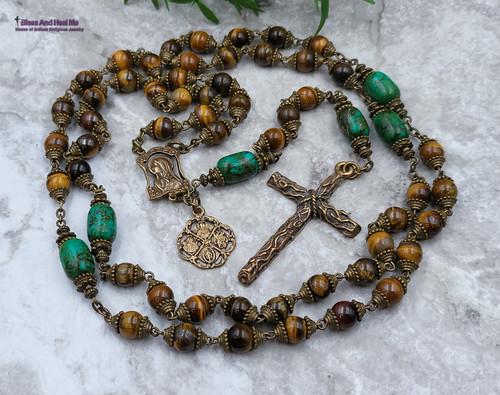 Virgin Mary Sacred Heart Joseph Christopher Tiger Eye Turquoise Bronze Ornate Rosary