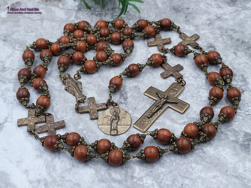 Miraculous Mary Pillars Sacred Heart Wooden XLarge Bronze Wall Display Rosary