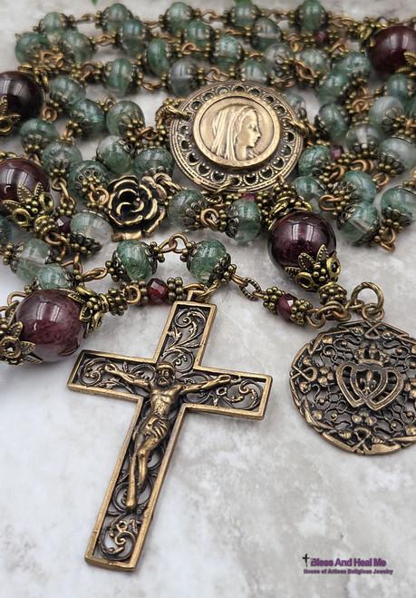 Virgin Mary, Lourdes,Tween Hearts Garnet Green Quartz Bronze Ornate Rosary